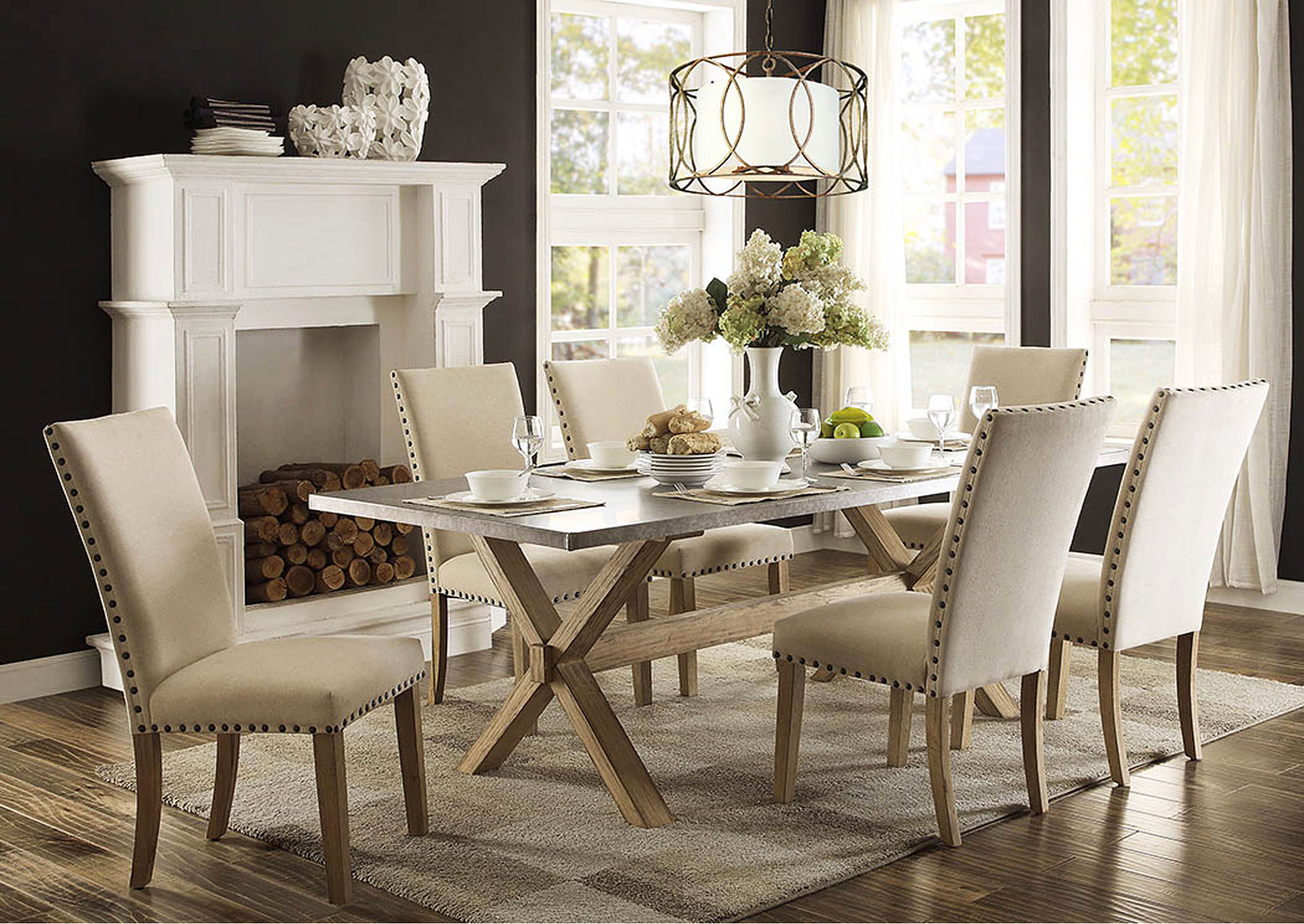 Peaceful Living Furniture Luella 84 Weathered Oak Dining Table w