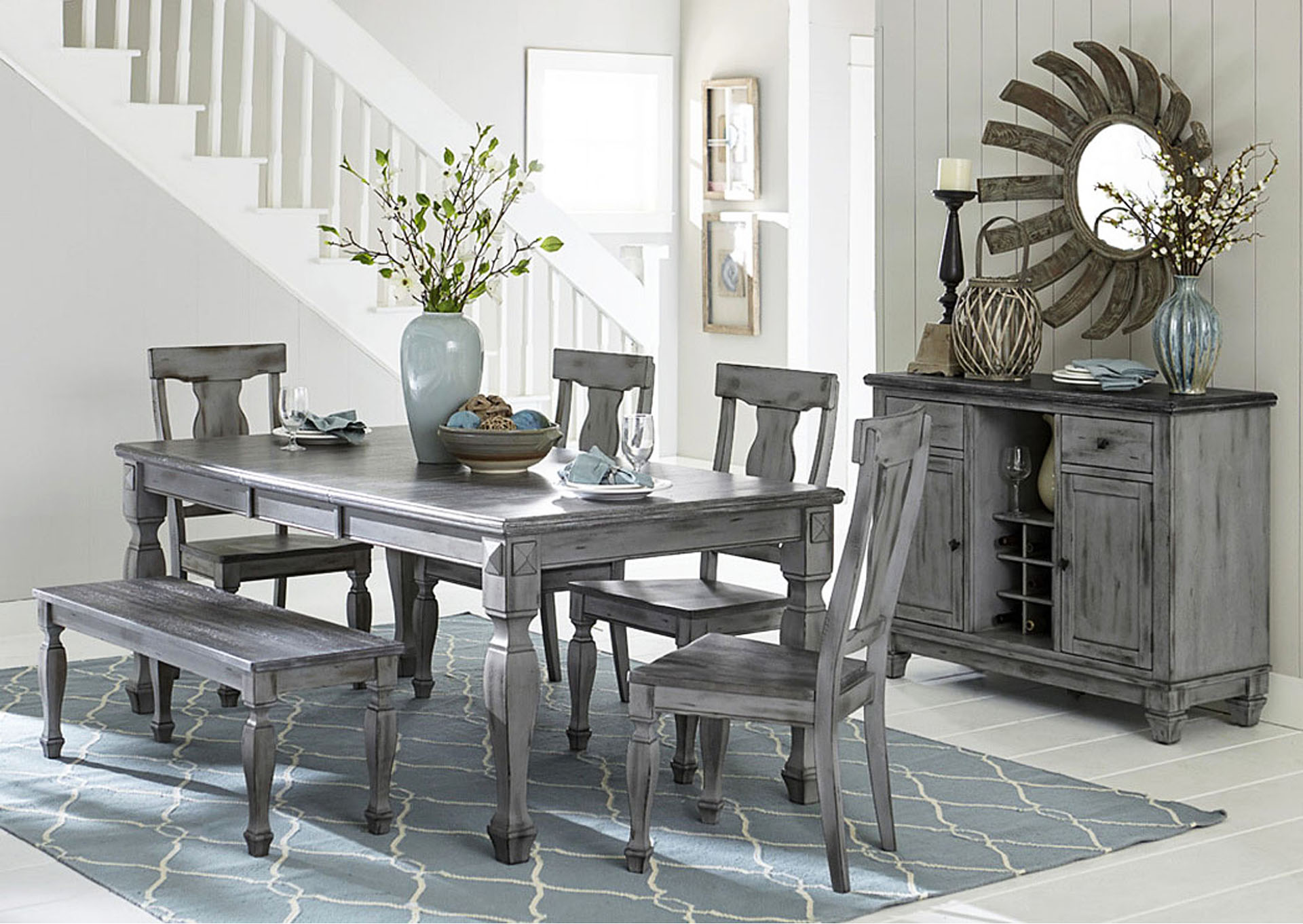 Dining Table W/4 Side Chairs U0026 Bench,Homelegance