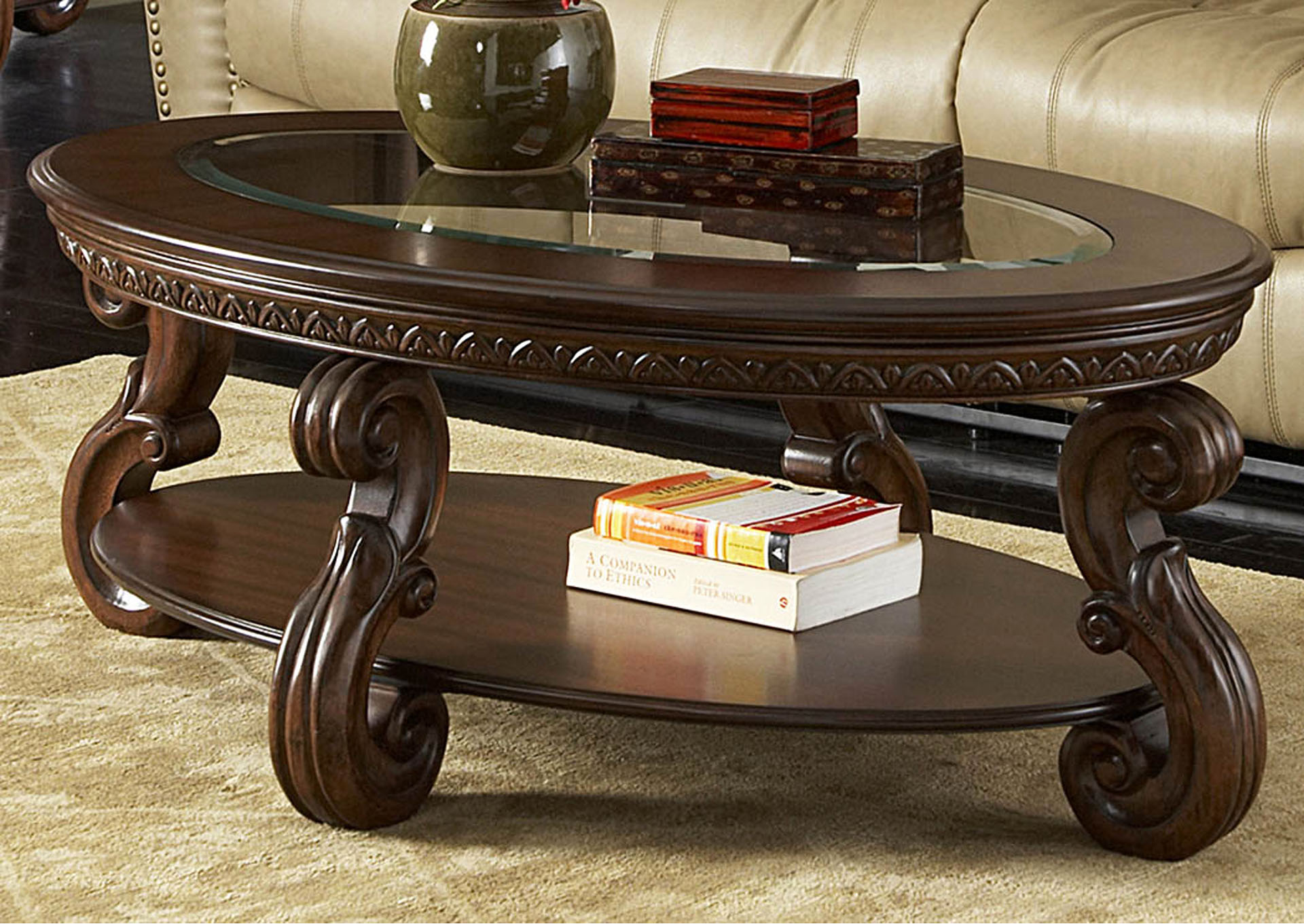 Cavendish Warm Cherry Oval Cocktail Table w/Glass Insert Top,Homelegance