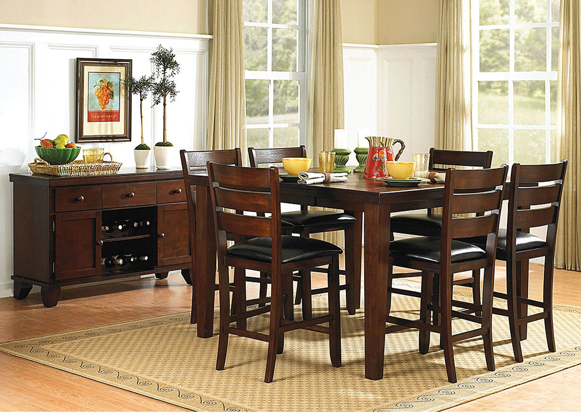 Ameillia Square Dining Table W/4 Counter Height Chairs,Homelegance