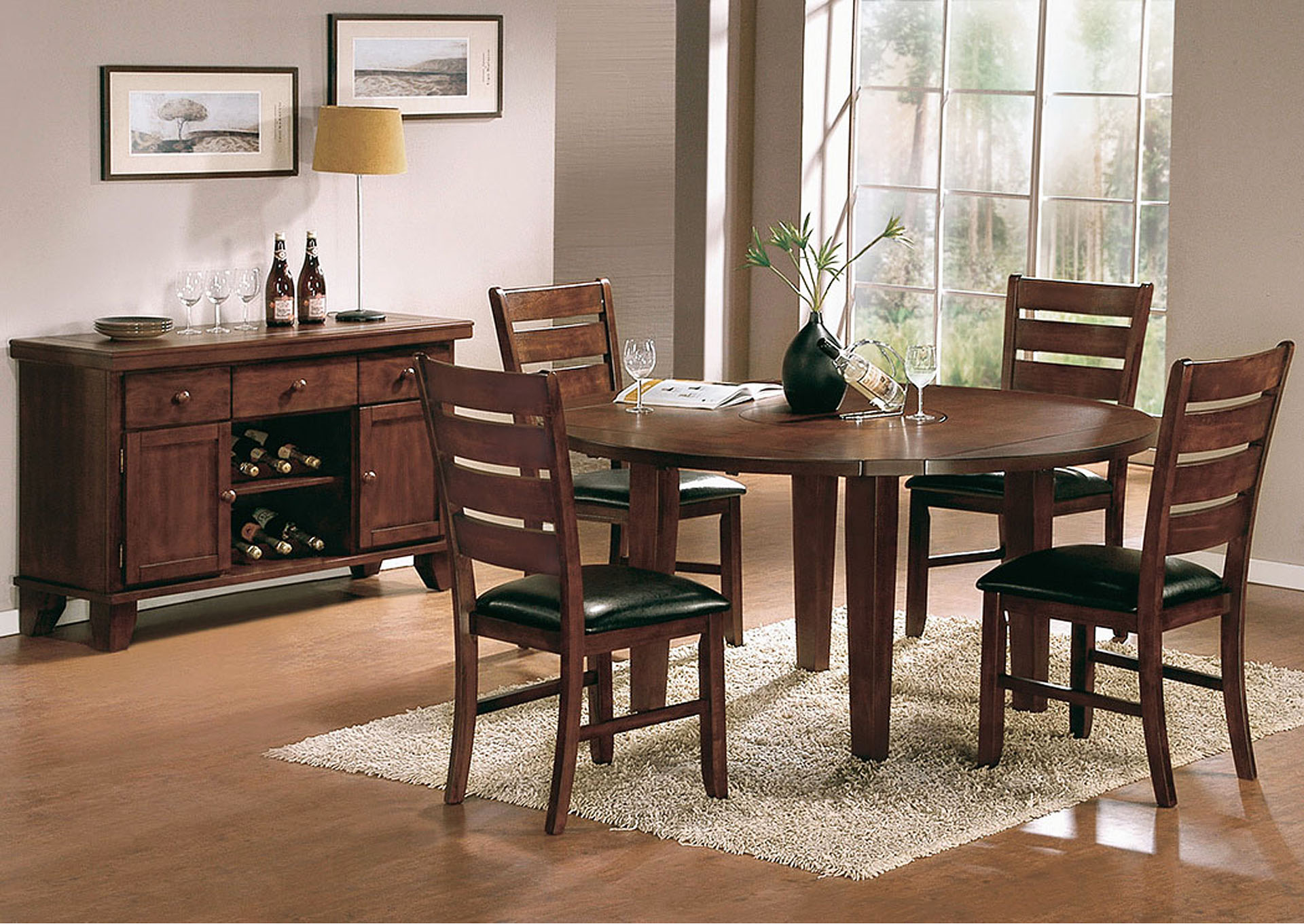 Ameillia Round Dining Table W/Lazy Susan,Homelegance