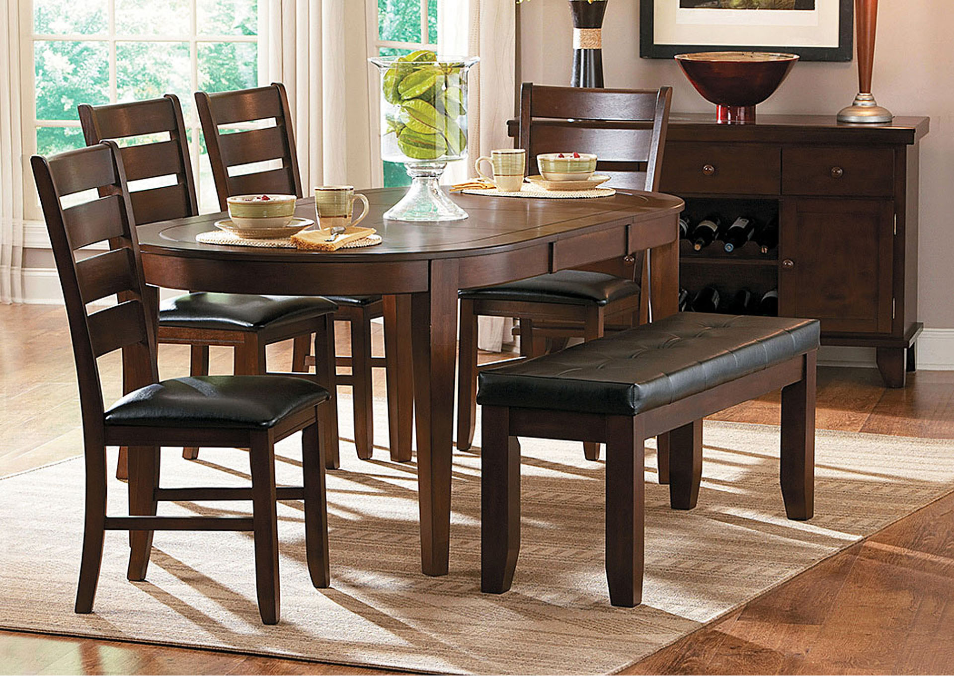 ACO Furniture Ameillia Oval Dining Table W Side Chairs - Oval dining table for 4