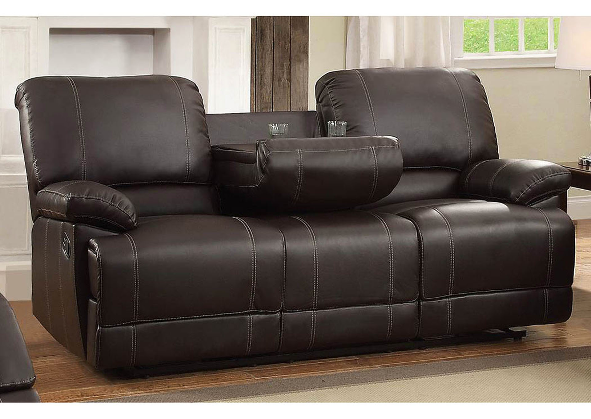 Apex furniture cassville dark brown double reclining sofa w center drop down cup holder for The living room drop in center