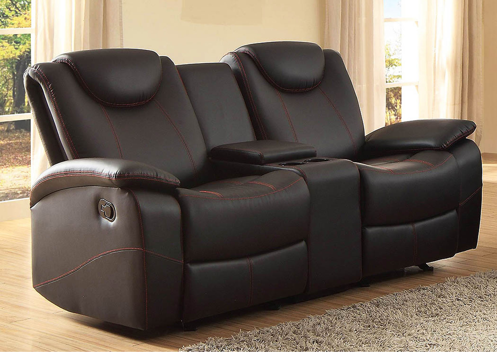 Long Island Discount Furniture Talbot Black Double Glider Reclining Loveseat W Center Console