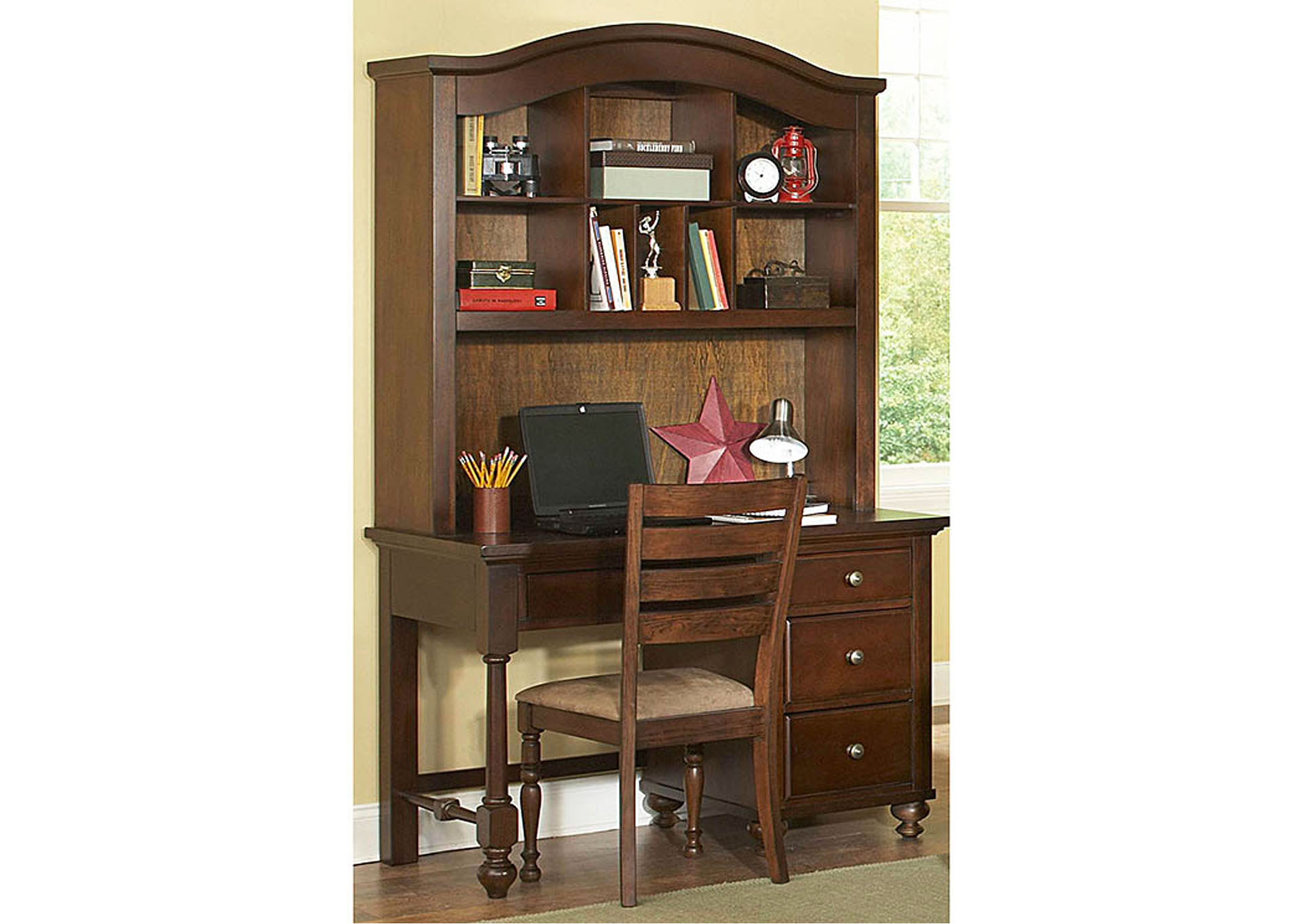 Aris Warm Brown Cherry Computer Writing Desk Computer Desk w/Hutch,Homelegance
