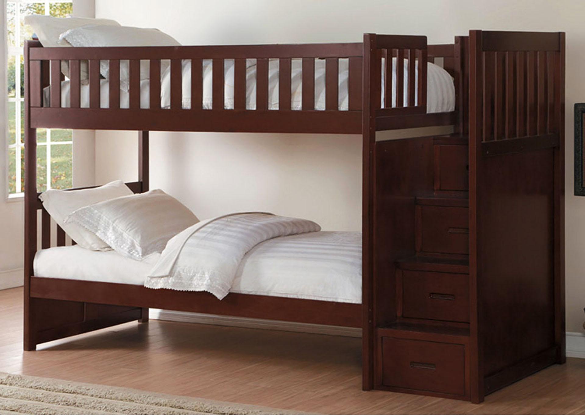 Bunk Bed W/Reversible Step Storage,Homelegance