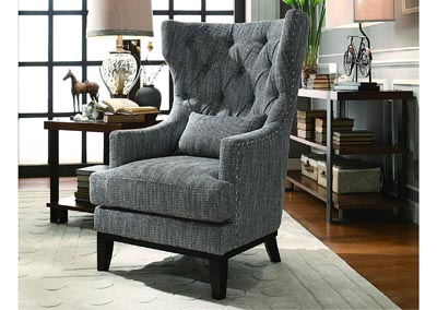 Accent Chair, Gray Woven Fabric