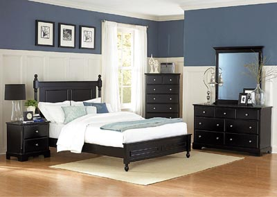 Morelle Black Queen Platform Bed w/ Dresser, Mirror, Drawer Chest and Nightstand