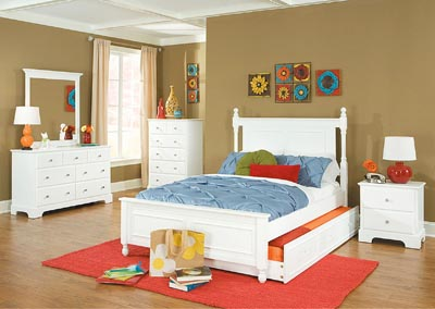 Morelle White Full Captain's Platform Bed w/ Trundle
