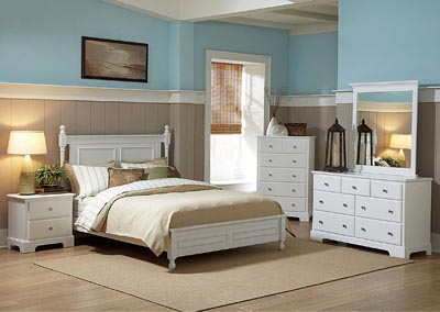 Morelle White Queen Platform Bed w/ Dresser, Mirror, Drawer Chest and Nightstand