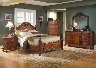 Madaleine Warm Cherry Queen Bed w/ Dresser, Mirror, Drawer Chest and Nightstand