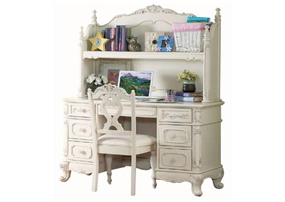 Cinderella White Writing Desk Hutch