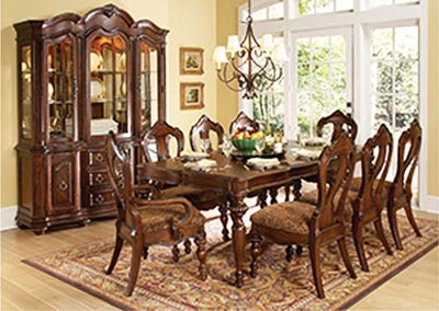 Prenzo Warm Brown Rectangular Dining Room Table w/ 2 Arm Chairs and 4 Side Chairs