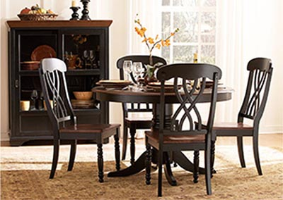 Ohana Black/Cherry Round Dining Room Table w/4 Side Chairs