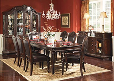 Palace Rich Brown Rectangular Dining Room Table w/2 Arm Chairs and 4 Side Chairs