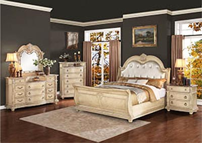 Palace II White Eastern King Bonded Leather Sleigh Bed