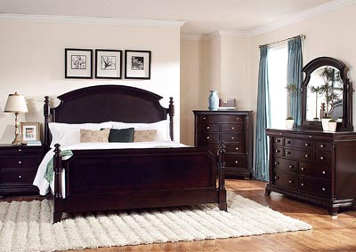 Inglewood Espresso Queen Panel Bed w/ Dresser, Swivel Mirror and Nightstand
