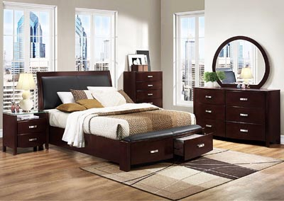 Lyric Dark Espresso Queen Platform Storage Bed w/ Dresser, Mirror, Drawer Chest and Nightstand