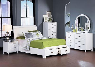 Lyric White Queen Platform Storage Bed w/ Dresser, Mirror, Drawer Chest and Nightstand