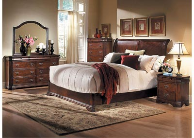 Karla Brown Cherry Queen Sleigh Bed w/ Dresser, Mirror and Nightstand