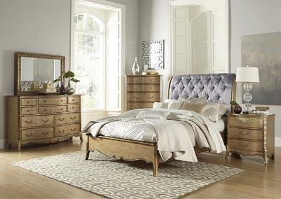 Chambord Gold Upholstered Queen Sleigh Bed w/ Dresser, Mirror, Drawer Chest and Nightstand