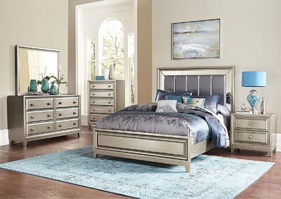 Hedy Silver Upholstered Queen Panel Bed w/ Dresser, Mirror, Drawer Chest and Nightstand