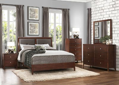Cullen Brown Cherry Upholstered Queen Platform Bed w/ Dresser, Mirror, Drawer Chest and Nightstand