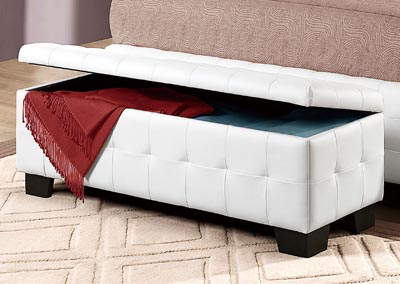 Sparkle White Lift Top Storage Bench,Homelegance