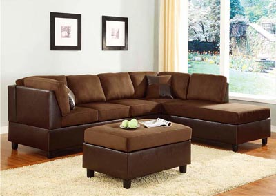 Comfort Living Chocolate/Dark Brown Left Facing Sofa Sectional