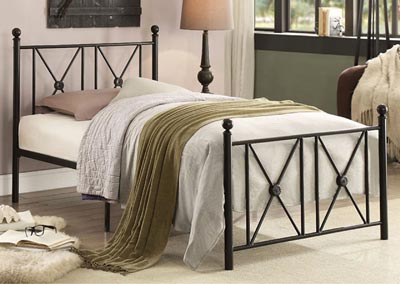 Twin Metal Platform Bed, Black Frame