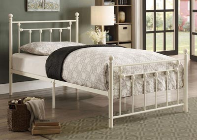 Twin Metal Platform Bed, White Frame