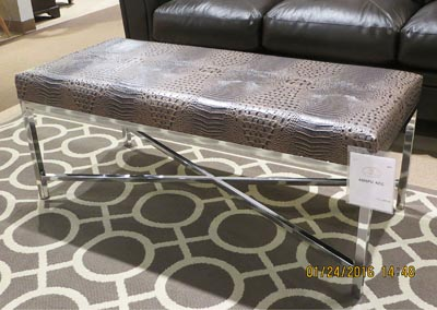 Chocolate Faux Croc Bench, Chrome Base