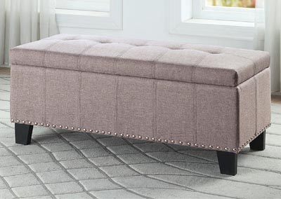Lift-Top Storage Bench, Gray Fabric