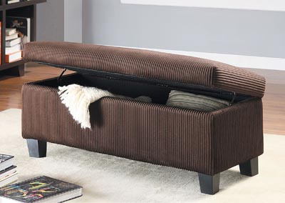 Clair Lift Top Corduroy Storage Bench,Homelegance