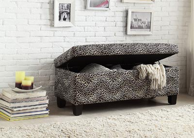 Clair Leopard Lift Top Storage Bench,Homelegance