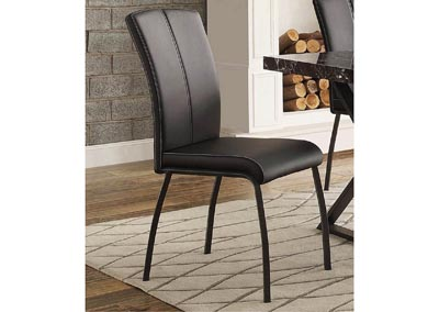 Rancho Portola Black Bi-Cast Vinyl Side Chair w/Metal Frame
