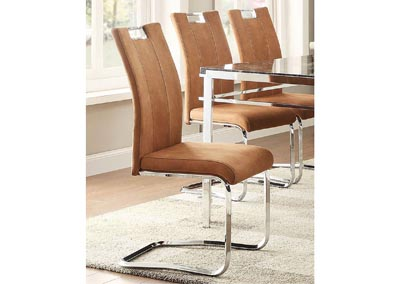 Watts Camel Brown Side Chair w/Chrome Frame