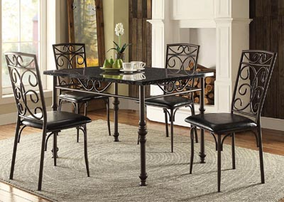 Dryden Black Rectangular Dining Table w/Faux Marble Top
