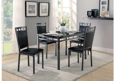 Olney 5 Piece Faux Marble Top Dinette Set w/4 Side Chairs