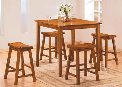 SaddleBack 5 Piece Oak Counter Height Set w/4 Counter Height Stool