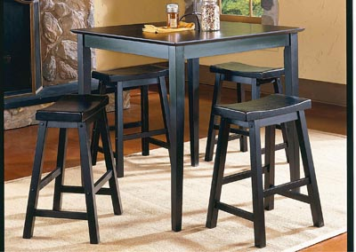 SaddleBack Black 5 Piece Counter Height Set w/4 Counter Height Stools