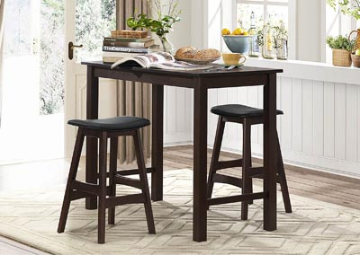 Wisdom Dark Espresso 3 Piece Counter Height Set w/2 Counter Height Stools