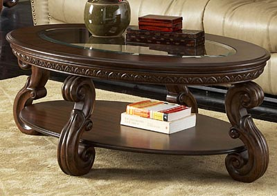 Cavendish Warm Cherry Oval Cocktail Table w/Glass Insert Top