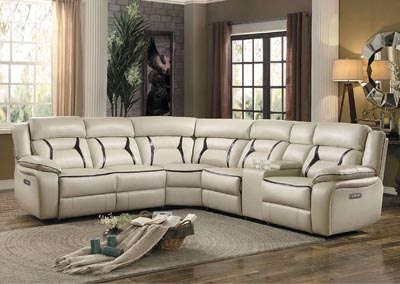6 PC Beige Leather Sectional