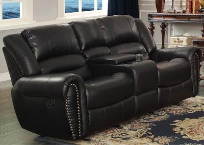 Center Hill Black Double Glider Reclining Loveseat w/Center Console