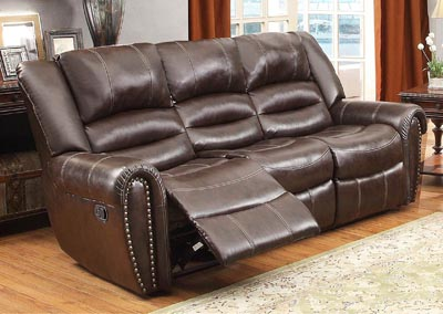 Center Hill Dark Brown Double Reclining Sofa