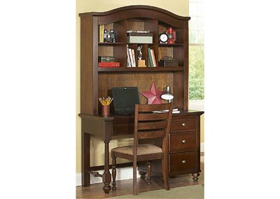 Aris Warm Brown Cherry Computer Writing Desk Computer Desk w/Hutch
