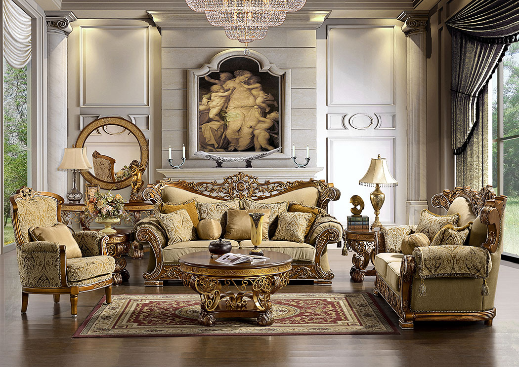 Royal Gold Sofa And Loveseat Set,Homey Design