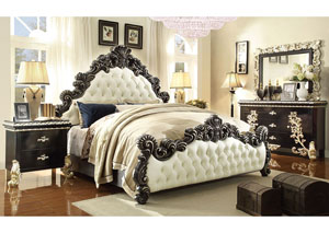 Victoria Palace White Upholstered Bonded Leather 5 Piece California King Bedroom Set