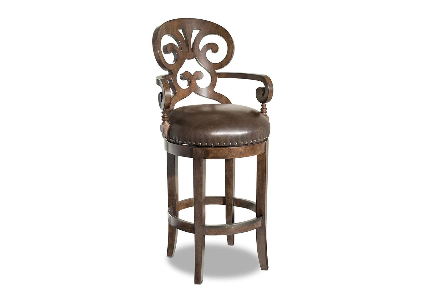 Jameson Cottage Leather Barstool,Hooker Furniture
